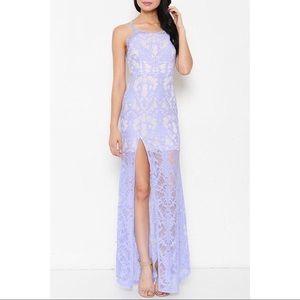 Latiste lavender lace maxi dress size Large